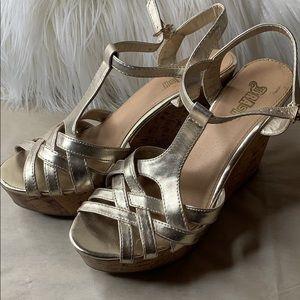 """""""Brash"""" Metallic gold wedge platform sandal"""